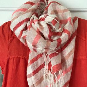 Halogen striped linen scarf 27 x 76